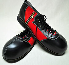 ZYKO Professional Real Leather Clown Shoes Extra Long Zipper (ZH042) Black/Red