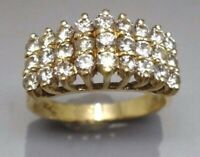 Heavy 14K gold .85CT SI1 I1 J diamond cluster cocktail RING PYRAMID DOME #30451