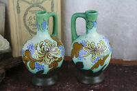 1920's Gouda Schoonhoven pottery Ceramic floral vases PAIR marked