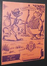 PROTEGE-CAHIER 1950 CHOCOLAT MENIER FABLES DE LA FONTAINE LE LOUP ET LE CHIEN