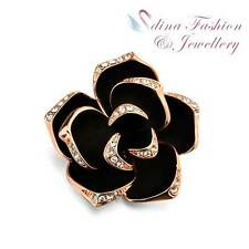 18K Rose Gold Plated Simulated Diamond & Agate Large Black 3D Rose Brooch