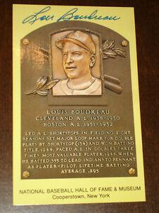 Lou Boudreau Boston Red Sox Cleveland  Signed autographed Yellow HOF Plaque