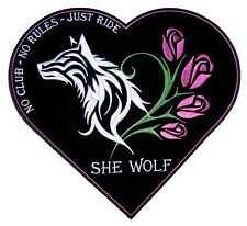 Sexy She Wolf Heart Roses Lady Rider Lady  Embroidered Biker Patch FREE SHIP