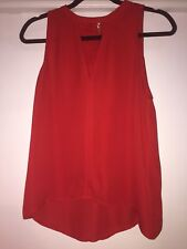 A.L.C Alc Red Silk Tank Blouse Keyhole Neck 0 Xs