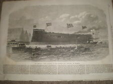launch of HMS Hercules 1868 old print and article ref Z1