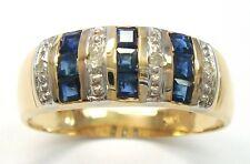 SYJEWELLERY 9CT YELLOW GOLD SQUARE NATURAL SAPPHIRE & DIAMOND RING     R1262