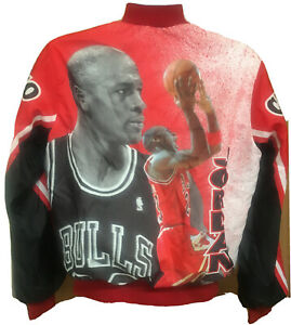 Michael Jordan Chicago Bulls Jacket Size Medium NBA Basketball 23 Vtg Chalk Line