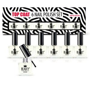 6 x TOP COAT NAIL VARNISH POLISH CLEAR SET LUXURY GIFT BOX WHOLESALE UK