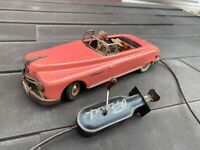 Arnold Toys Tinplate Primal Car In Pink With Remote - Vintage Original Rare