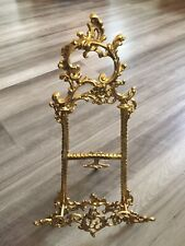 Vintage Ornate Floral Design Solid Brass Table Easel Plate Picture Display Stand