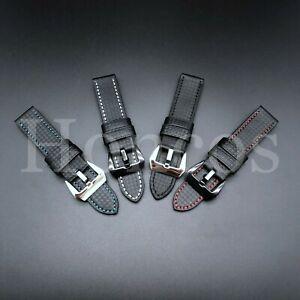 20/22/24/26 MM Carbon Fiber Black Leather Watch Band Strap fits Panerai Luminor