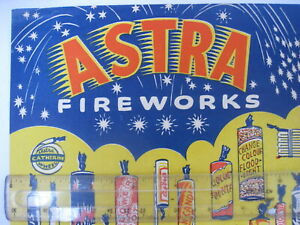 Vintage ASTRA Fireworks TRADE One Sheet FLYER 1960 RARE +prices Shop Display 60s