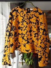 H&M Bluse Oberteil Gr. 40 dunkelblau senfgelb Blumen, tailliert