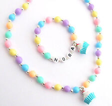 Party Favor Name Bracelet, Cupcake Charm Children's Necklace Toddler Child Kids