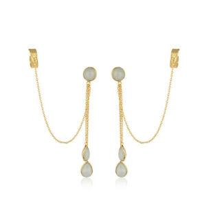 Aqua Chalcedony Gemstone Silver 18k Gold Plated Ear Cuff Earring Jewelry