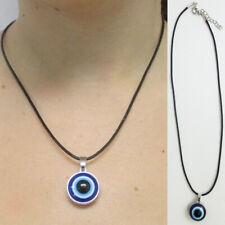 1 Turkey Evil Eye Charm Necklace Nazar Mati Blue Bead Adjustable Black Cord Gift
