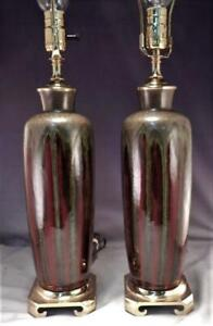 Pair of Mid Century Modern MCM Drip-Glaze Ceramic Table Lamps~Brass Base~VGC