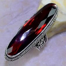 HUGE! RED GARNET STONE 925 STERLING SILVER STATEMENT FASHION RING SIZE 7