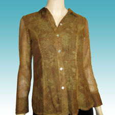 New $200 CYNTHIA STEFFE Crimped Chiffon Overlay BLOUSE Shirt 8 USA Mottled Tan