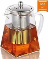 Glass Teapot with Infuser, 950ml/32oz Clear High Borosilicate Glass Tea Pot with