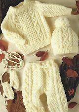 "Baby Knitting Pattern Aran Sweater Mittens Leggings Hat 18-26"" Girls Boys 583"