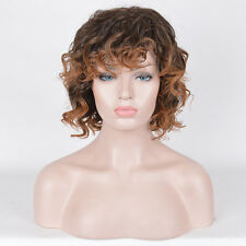 African American Women's afro curly wigs short bob brown ombre blonde dye Wig