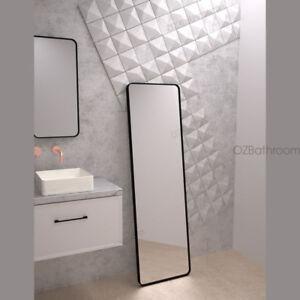 slim matte black framed mirror S/S rim round corner rectangular shape