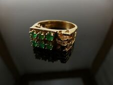 14k Yellow Gold Ring w/ 6 Emerald Cut Stones 7.75 Grams Size 9