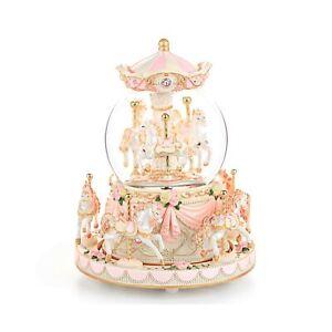 Carousel Snow Globe Gift, Music Box with Light 8-Horse Windup Musical Christm...