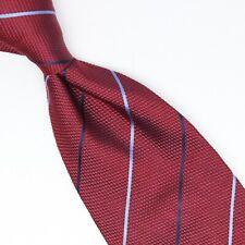Gentlemans Closet Mens Silk Necktie Burgundy Navy Light Blue Stripe Weave Tie
