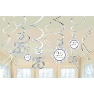 25th Anniversary Silver Hanging Swirls Milestone Party Decorations Supplies