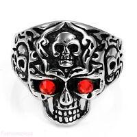 Stainless Steel Royal Tribe Red CZ Eyed Skull Wide Cast Biker Men's Rings Bands