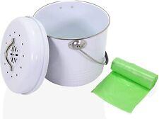 Anbar Kitchen Compost Bin Bucket Charcoal Filter & 20 Compostable Bag Liners