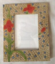 """Mosaic Design Red Iris Flower 5 1/2 X 7"""" Picture Frame Holds 3 1/2X5"""" Photo"""