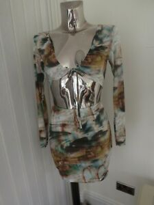 PRETTYLITTLETHING GREEN MIX CUT OUT TIE BUST BODYCON DRESS SIZE 8 WORN ONCE