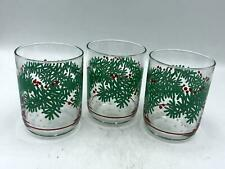 Set of 3 Vintage Libbey Holiday Pattern Old Fashioned/Rocks Glasses