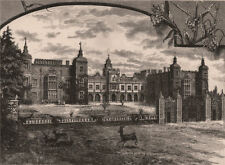 Front of Hatfield House, Hertfordshire 1898 old antique vintage print picture