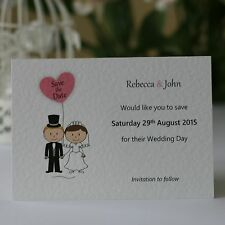 50 Personalised Wedding Save the Date Cards Bride and Groom Heart