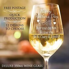 Personalised Mothers Day 350ml Wine Glass Laser Engraved Gift Present Idea AUST