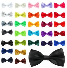 New Metal Fastener Bow tie Pretied 25 Colours Adult Satin Prom Weddings UK