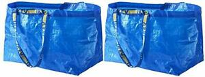 2 New IKEA Blue BAG IKEA Large Bag Ikea Bag REUSABLE TOTE STORAGE FRAKTA 19 Gal