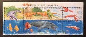 LIBERIA DINOSAURS OF LAND & SEA STAMPS SHEET 1999 MNH PREHISTORIC ANIMALS BIRD