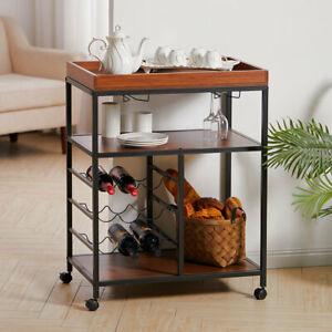 3 Tier Drinks Trolley Kitchen Storage Cart Bar Alcohol Wine Liqueur Shelf Rack