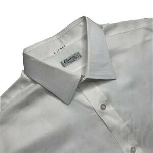 Personnalisé 17- Long Charvet Paris Solide Coton Blanc Col Italien Robe Chemise