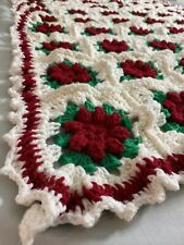 Afghan Crochet Christmas Colors Raised Floral Granny Square Blanket Throw 70x45
