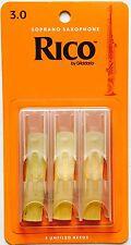 Rico Soprano Saxophone Reeds #3.0 (3-pack) orange box RIA0330