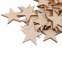 25 Pcs Natural Unfinished Blank Wood Wooden Stars Star Crafts-, Decor DIY G6E3