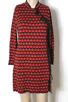 ZARA Kleid Gr. M rot-orange-schwarz kurz/mini Strick Kleid mit Lurex