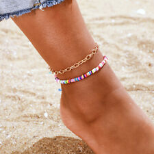 Women Boho Colorful Chain Ankle Bracelet 2 Pcs Handmade Polymer Clay Anklet For