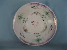 Antique Hand Painted Green Red & Blue Flowers Porcelain Saucer Unknown (O) AS IS